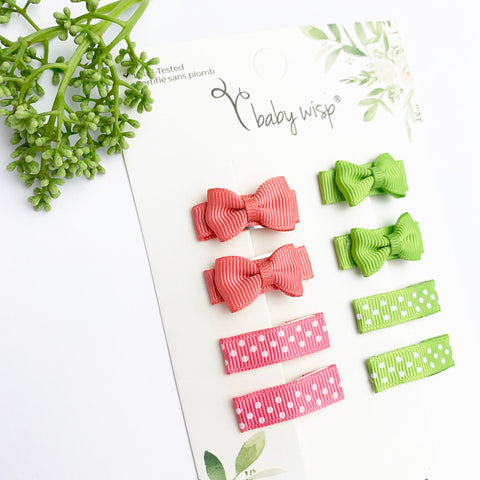 Coral and Green Small Snap Grosgrain Tuxedo Bows and Ribbon Clips - Baby Wisp