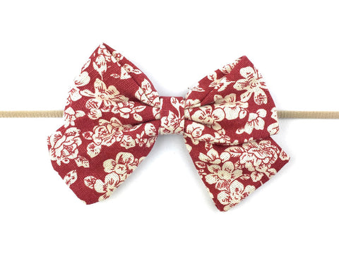 Infant Headband - Giant Vintage Cinnamon Floral Sailor Bow - Baby Wisp