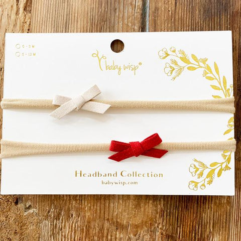 2 Soft Baby Headbands - Red and Tan Faux Suede Hand Tied Bows - Baby Wisp