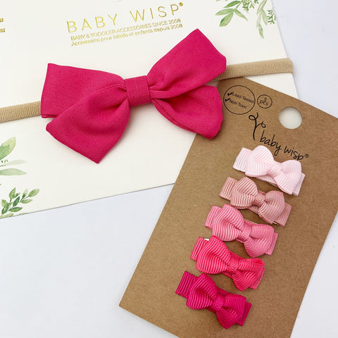 Emma Bow Infant Headband and 5 Tuxedo Bow Snap Clips