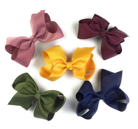 5 Americana Large Boutique Bows Pinch Clip for Fall - Baby Wisp