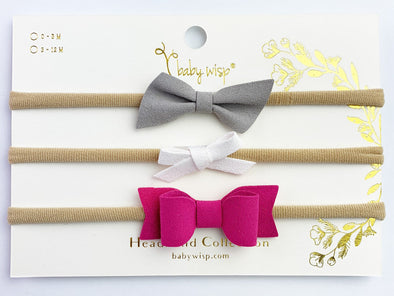 3 Faux Suede Mixed Style Baby Bows Infant Headband Bow Set - Baby Wisp
