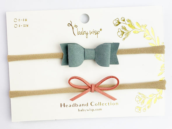 2 Dainty Bows - Green and Burnt Peach Gift Set - Baby Wisp
