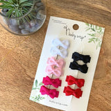 Pigtail Pairs - Small Snap Clip Tuxedo Bows Essential Colors