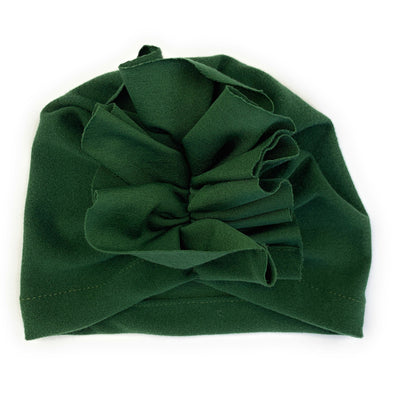 Ruffles Infant Headwrap Hat - Forest Green - Baby Wisp