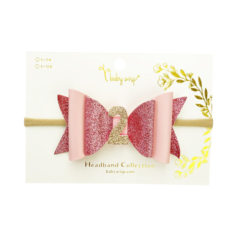 2nd Birthday Hair Bow, Birthday Headband - Baby Wisp