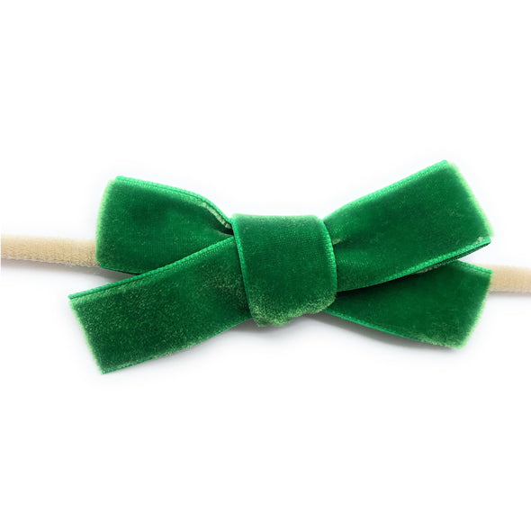 Infant Headband - Velvet Bow - Green - Baby Wisp