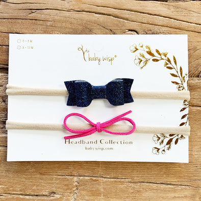 2 Headband Gift Set - Mya Glitter Bow, Suede Cord Rope Infinity Bow - Baby Wisp