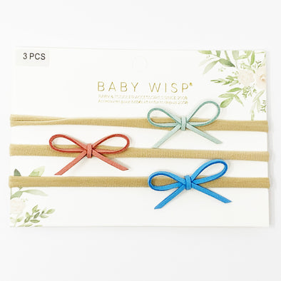 3 Suede Cord Hand Tied Bows Baby Headband Gift Set - Mint, Burnt Peach, Blue - Baby Wisp