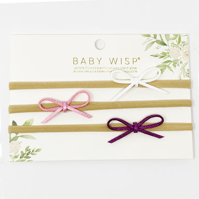 3 Suede Cord Hand Tied Bows Baby Headband Gift Set - White,Pink,Purple - Baby Wisp
