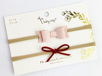 2 Mixed Baby Bows Baby Headband Gift Set - Pink, Rust - Baby Wisp