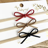3 Skinny Suede Cord Glitter Bow Christmas Headbands - Baby Wisp