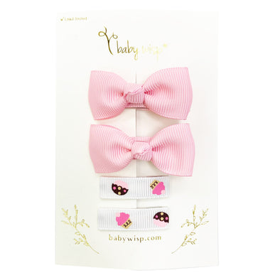 Cupcake Baby Wisp Hair Clips Patterned Grosgrain Ribbon Infant Fine Hair Accessory