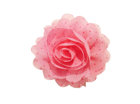 Mini Latch Dahlia Flower Clip - Pink with Polka Dots - Baby Wisp