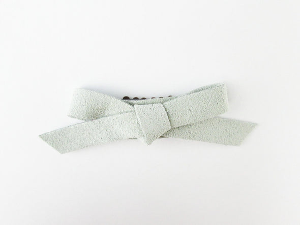 Mini Wisp Clip - Hand Tied Faux Suede Bow - Grey