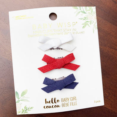 3 Mini Wisp Clip Faux Suede Hand Tied Bows - Patriot Bows - Baby Wisp