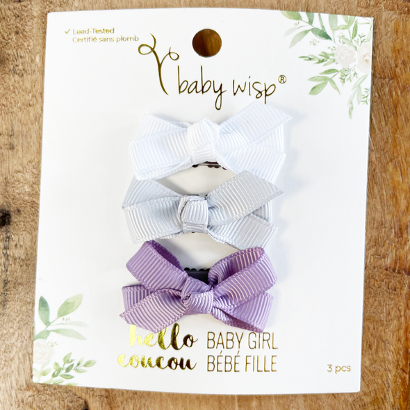 3 Mini Wisp Clips Chelsea Boutique Bows - Spring Baby Girl Gift - Baby Wisp
