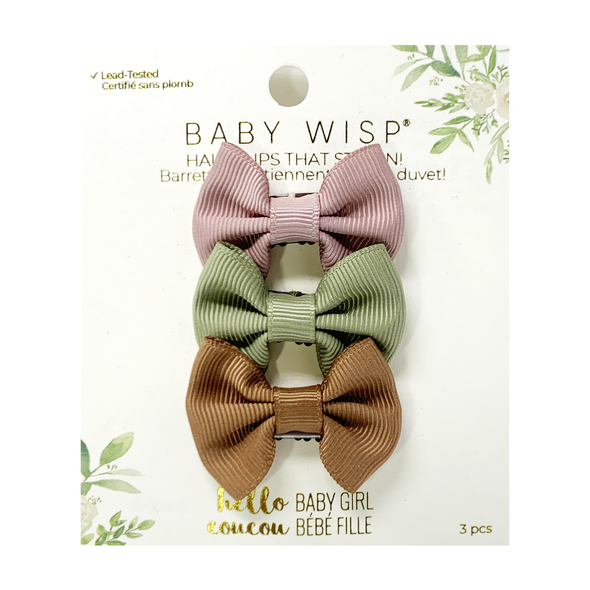 3 Mini Wisp Clips Classic Fan Out Ribbon Bows - Spring Set - Baby Wisp