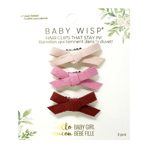 Valentine - 3 Mini Wisp Clips Faux Suede Bows with Brick Red - Baby Wisp