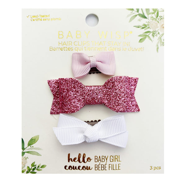 3 Mixed Style Wisp Clip Bows | Fine Hairclips | Pink and White Bows - Baby Wisp
