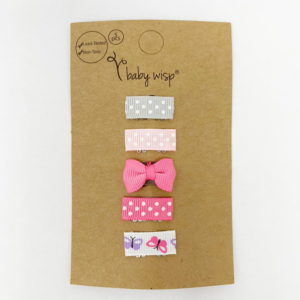5 Mini Latch Wisp Clips - Polka Butterfly - Baby Wisp