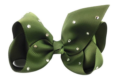Americana Bow Pinch Clip - Sparkle - Green Moss
