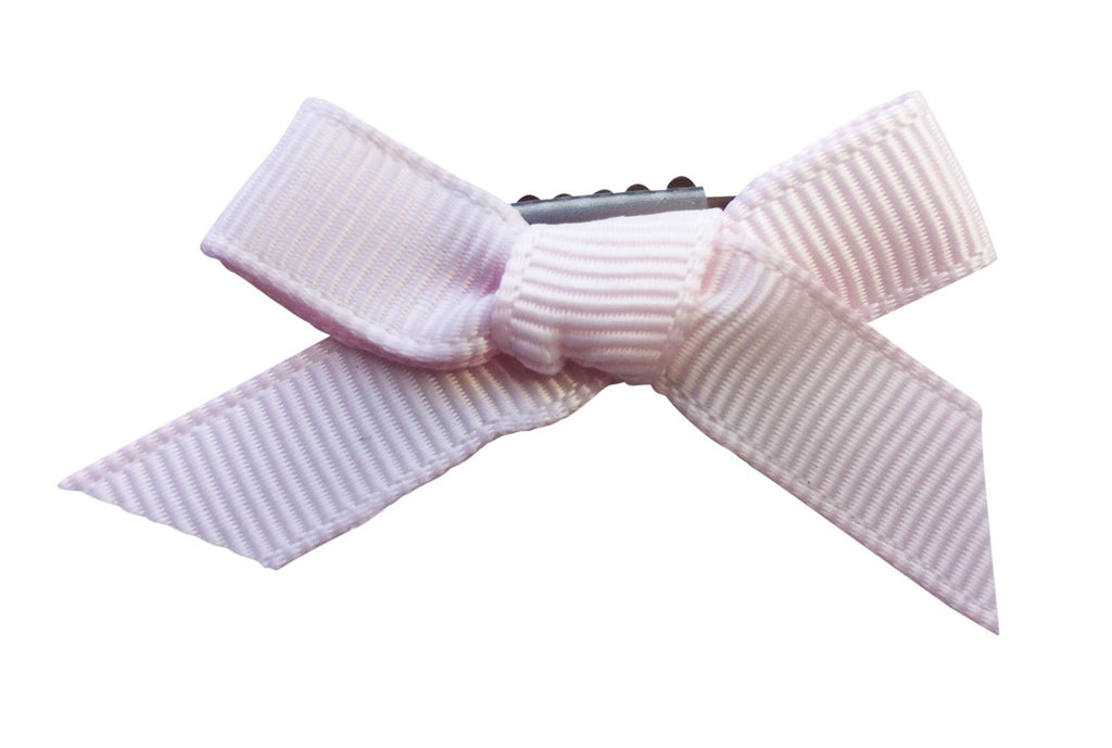 Mini Latch Wisp Clip - Hand Tied Grosgrain Bow - Icy Pink - Baby Wisp