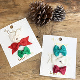 Mixed Christmas Bows Wisp Clip Set | Baby Wisp
