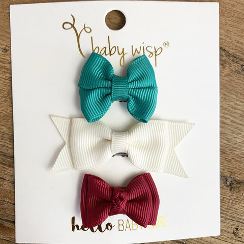 Mixed Christmas Bows Wisp Clip Set | Baby Wisp - Baby Wisp