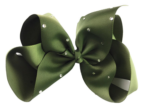 Nicki Bow Pinch Clip - Sparkle - Moss Green - Baby Wisp