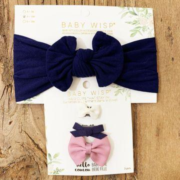 Nylon Bow Headband + 3  Wisp Clip Autumn Bow Gift Set - Baby Wisp