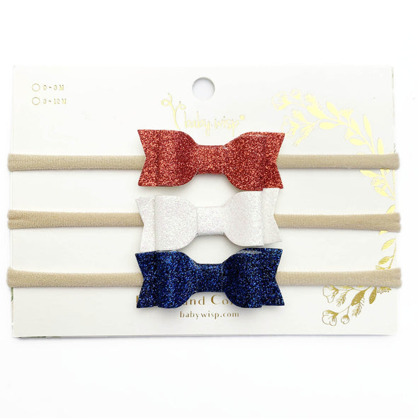 3 Infant Headbands - Patriotic Mia Glitter Bows - Baby Wisp
