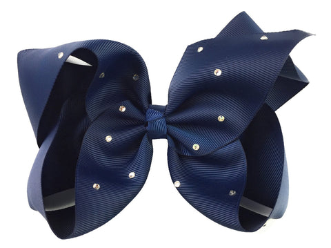 Nicki Bow Pinch Clip - Sparkle - Navy - Baby Wisp