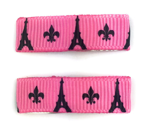 Little Girl Urban Eiffel Towers Ribbon Snap Clips