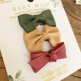 Knotted Bow Headwrap and 3 Wisp Clip Autumn Bow Gift Set