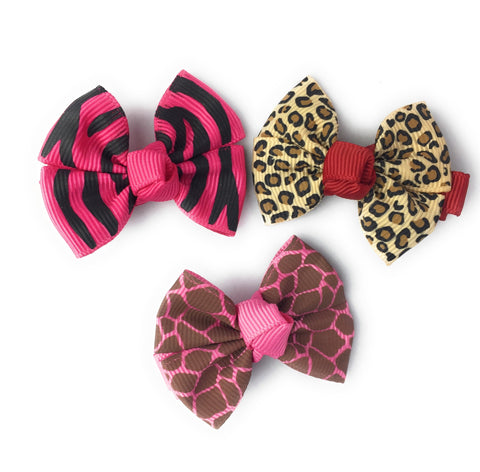 Animal Print Bows 4 Clip Collection - Baby Wisp
