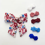 Vintage Floral Pinch Clip and 5 Small Snap Tuxedo Clips