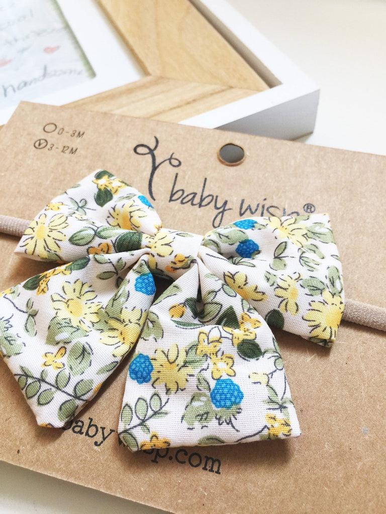 Infant Headband - Giant Vintage Floral Pattern Fabric Bow Sailor Bow - Baby Wisp