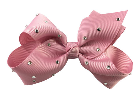 Americana Bow Pinch Clip - Sparkle - Rose Quartz Blush