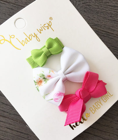 3 Baby Bows Vintage Floral Gift Set - Small Snap Clips - Baby Wisp