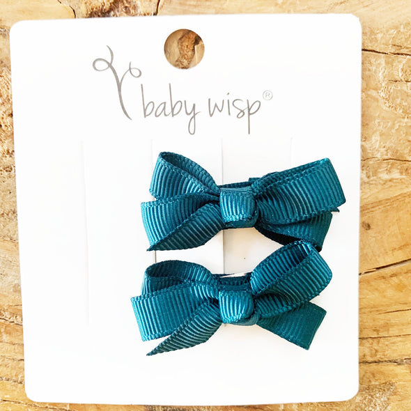 Chelsea Boutique Bow - 2 Hairbows - Spruce Teal - Baby Wisp