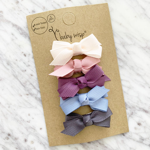 Small Snap Chelsea Bows - Baby Melody - 5 Bow Gift Set - Baby Wisp