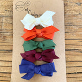 5 Chelsea Boutique Bow Snap clip Barrettes Halloween Bows Gift Set - Baby Wisp