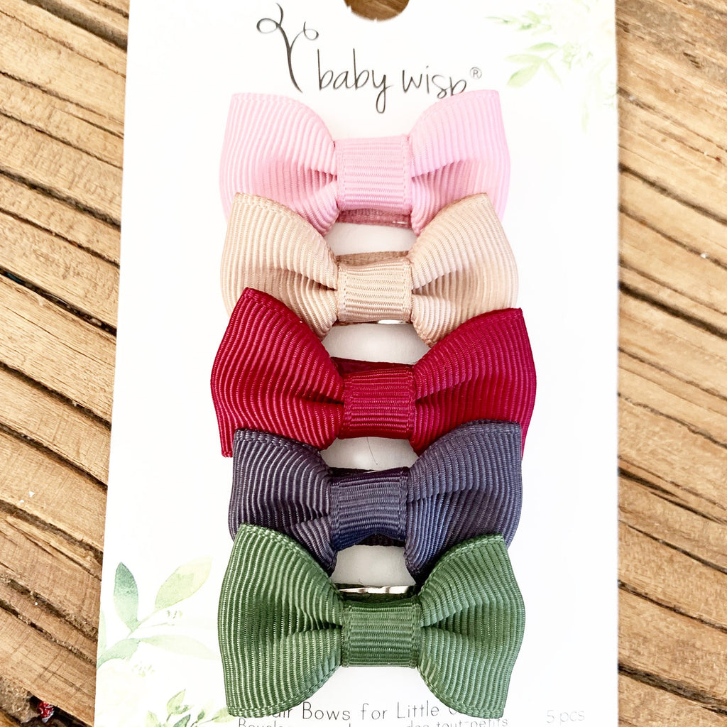 5 Small Snap Clip Charlotte Bows - Autumn Inspo - Baby Wisp