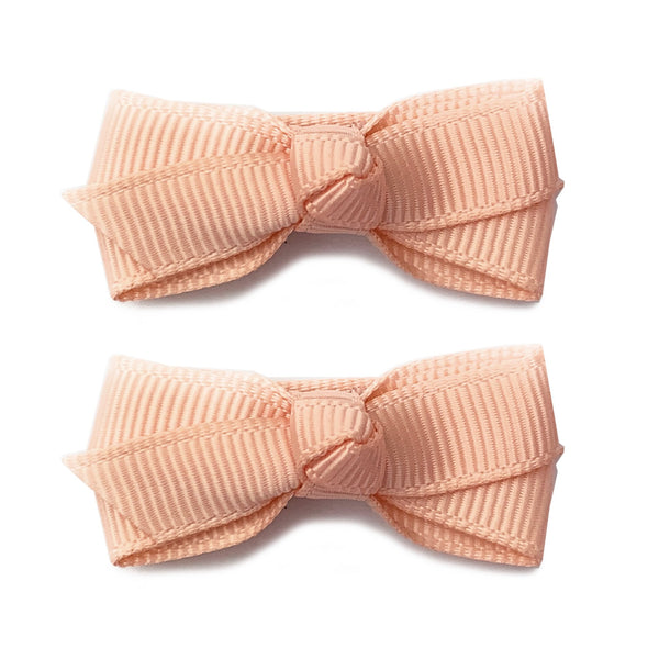 Small Snap Chelsea Boutique Bow - 2 pack - Peach - Baby Wisp