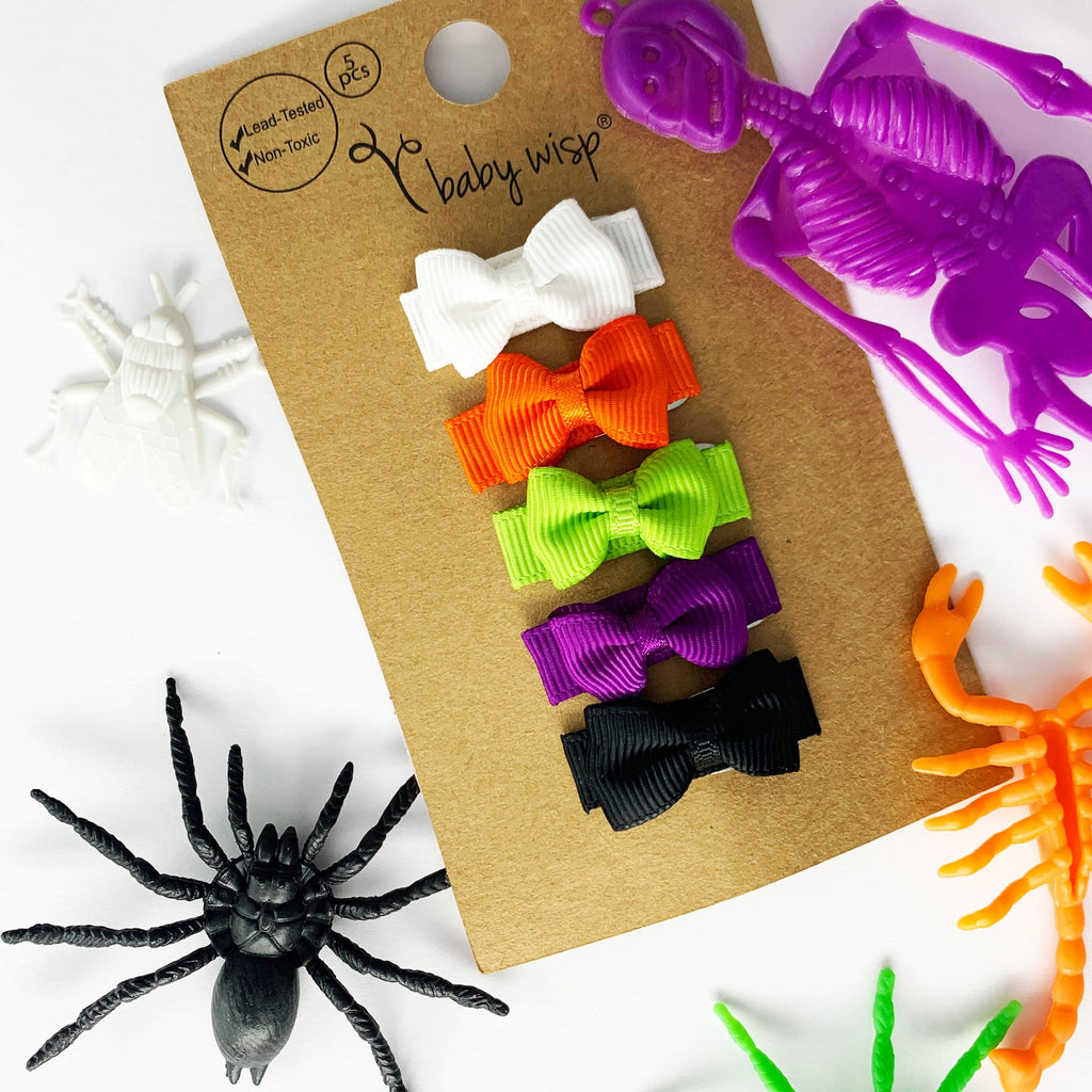 5 Small Snap Tuxedo Grosgrain Bows - BEST Halloween Baby Bows - Baby Wisp