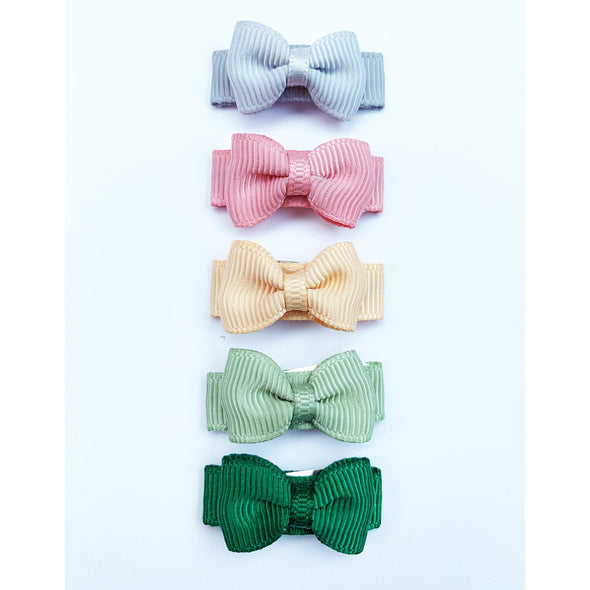 Small Snap Tuxedo Grosgrain Hair Bow Collection - Grassland - Baby Wisp