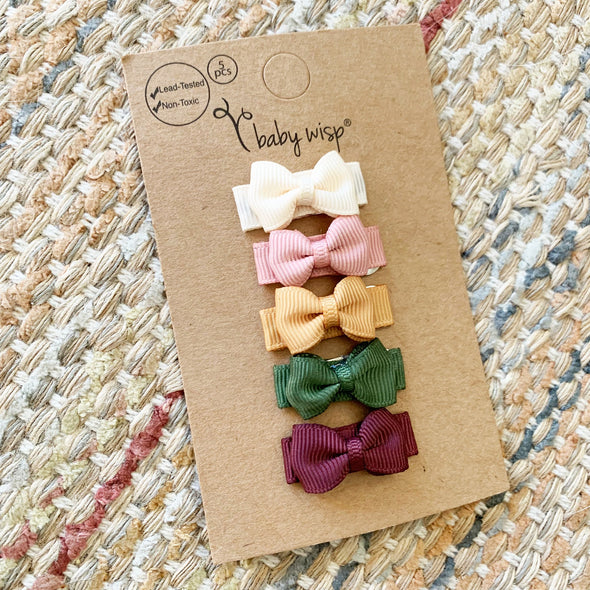 5 Small Snap Tuxedo Grosgrain Hair Bows - Autumn Collection - Baby Wisp