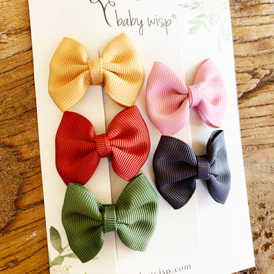 5 Classic Fan Out Baby Toddler Ribbon Bows - Mama Earth - Baby Wisp