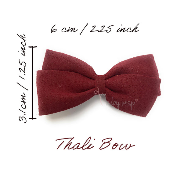 Thali Faux Suede Bow Headband for Babies - Burgundy - Baby Wisp